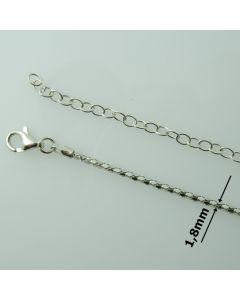 Łańcuch gotowy srebrny LINKA OKRĄGŁA Ag925 typ:AGG1,8S/RH-60cm RODOWANY