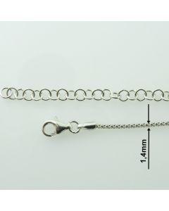 Łańcuch gotowy srebrny  LINKA OKRĄGŁA Ag925 typ:CORBD1,4/RH- 80 cm RODOWANY
