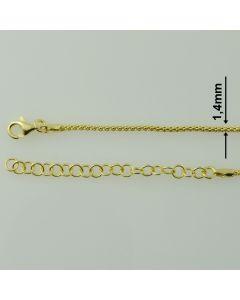 Łańcuch gotowy srebrny LINKA OKRĄGŁA Ag925 typ:CORBD-1,4/Au - 80cm  ZŁOCONY