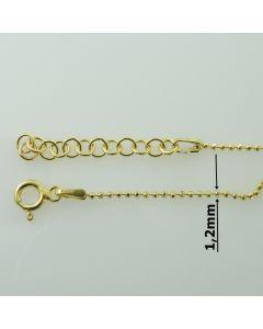 Łańcuch gotowy srebrny KULECZKI Ag925 typ:CPLD1,2 długości 45 cm plus regulacja ZŁOCONY