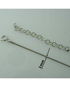 Łańcuch gotowy srebrny  LINKA OKRĄGŁA Ag925 typ:CST1,0- 42cm RODOWANY
