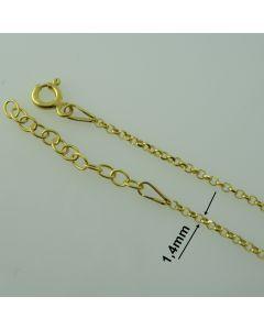 Łańcuch gotowy srebrny Ag925 typ: R0001D/Au - 45cm ZŁOCONY