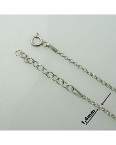 Łańcuch gotowy srebrny Ag925 typ R001D/RH-  długość  80cm RODOWANY